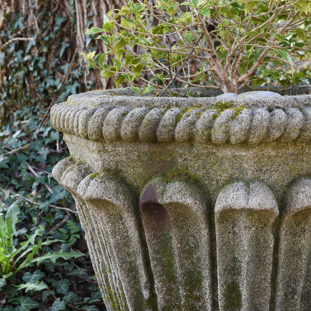 Hand Carved Stone Planter with Old Stone Base - 50cm dia.