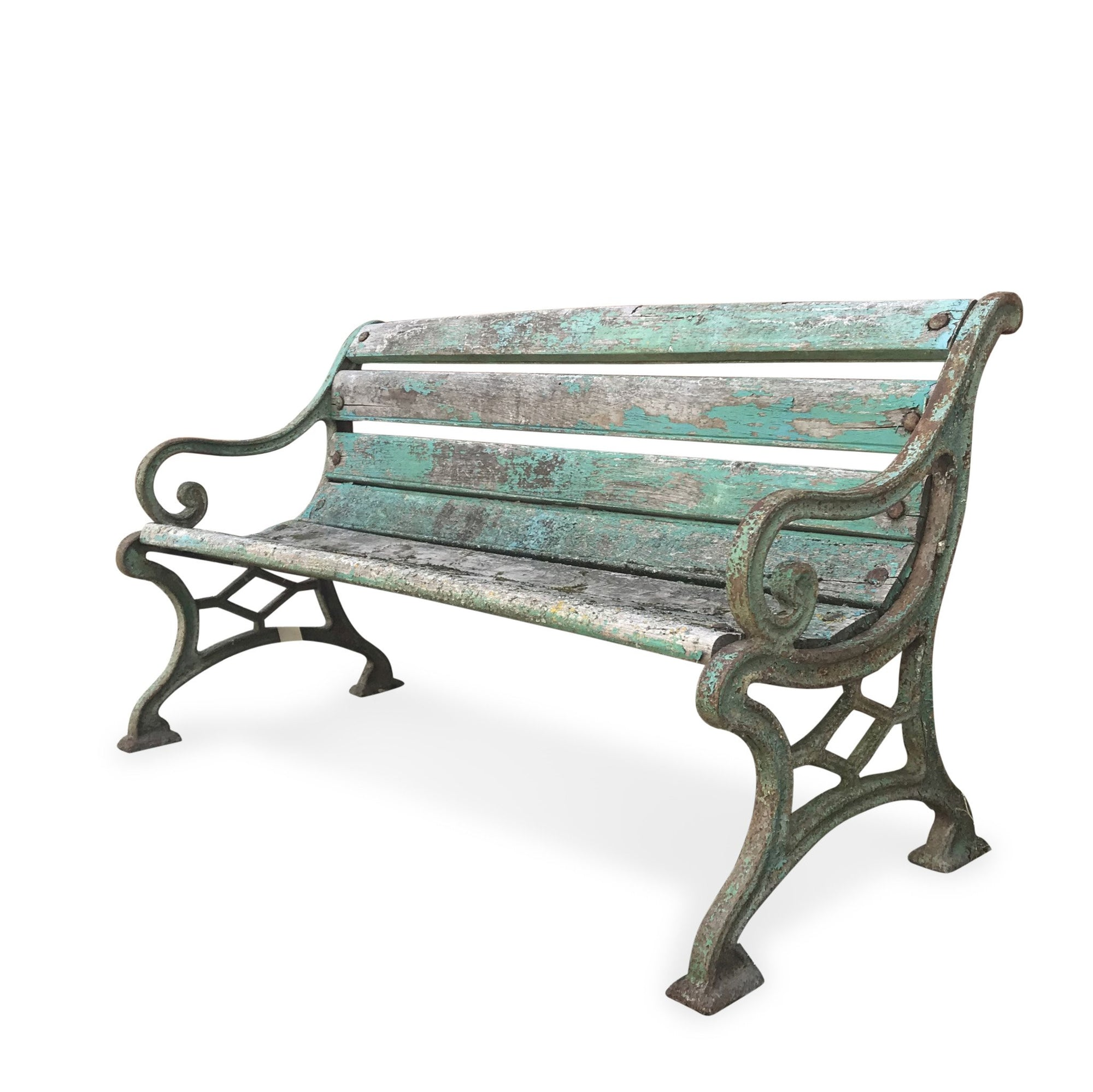 Vintage Green Painted Old Indian Cast Iron Bench from 1920's | INDIGO ANTIQUES