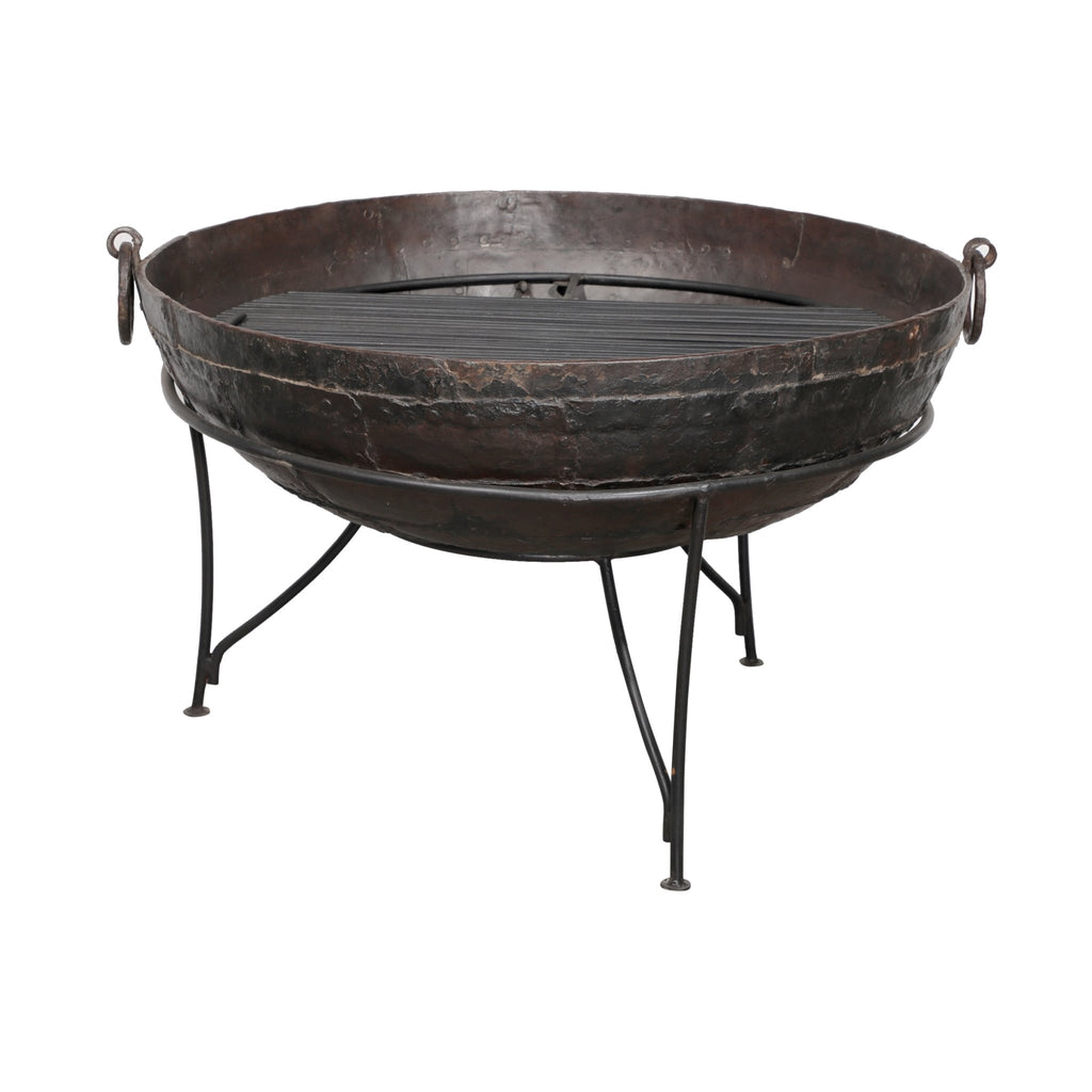 Old 'Kadai' Indian Fire Bowl & Stand From Rajasthan - Ca 1900