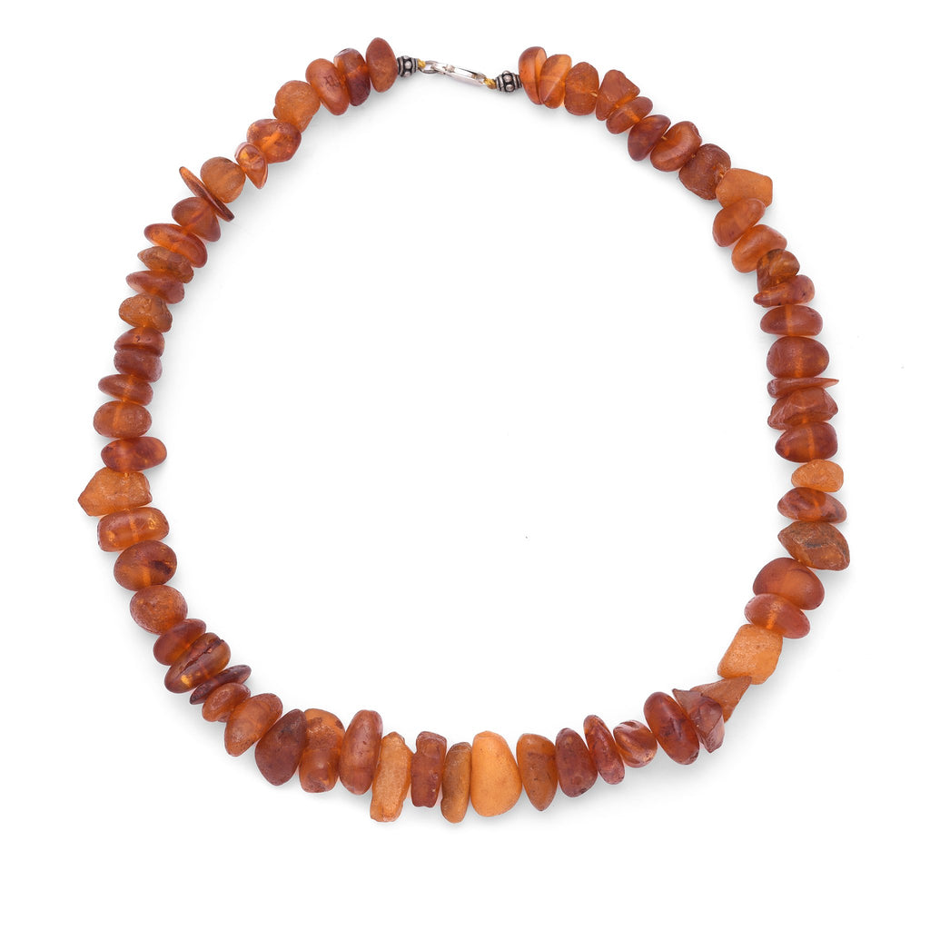 Baltic Amber Bead Necklace with Silver clasp