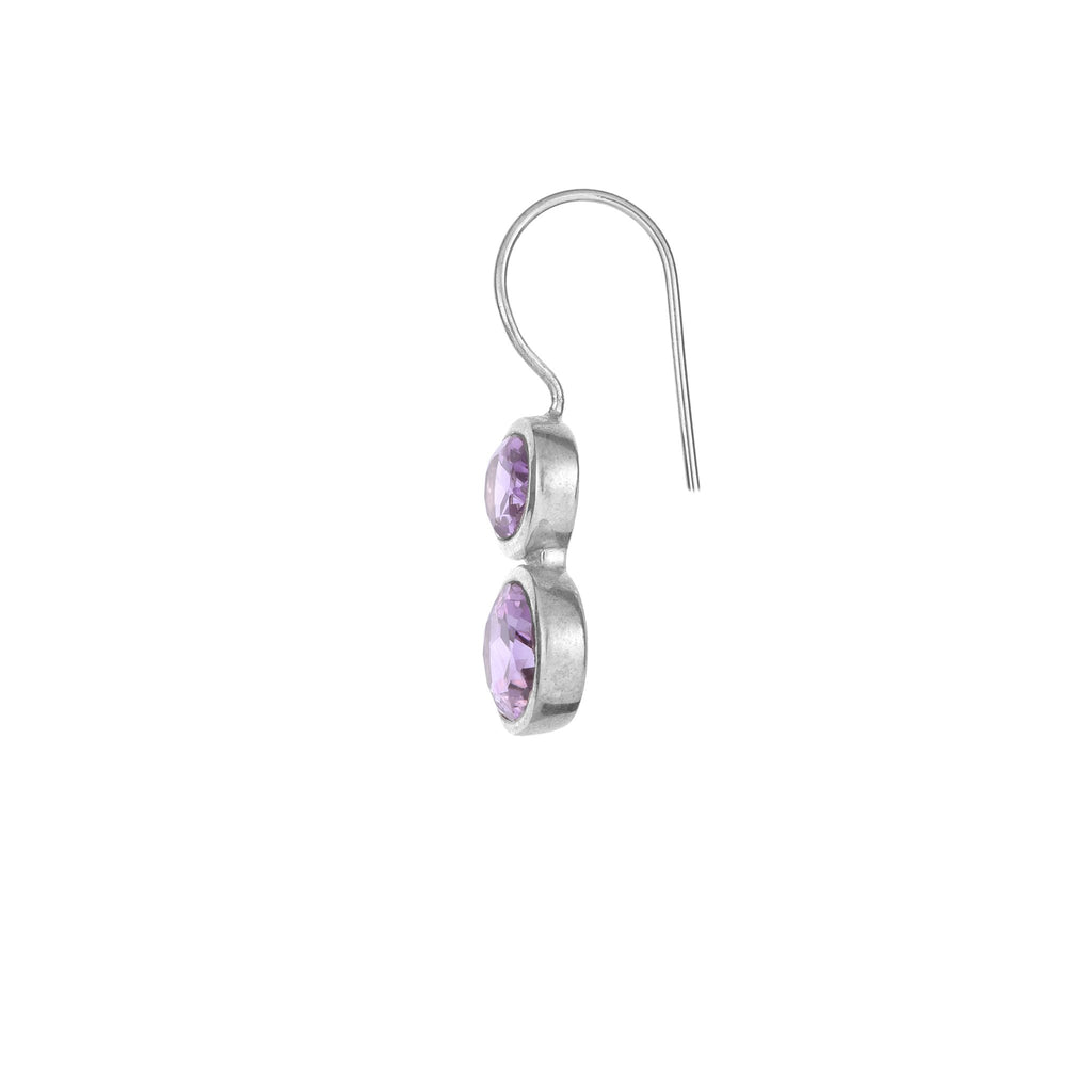 Silver and Amethyst Earrings - From Rajasthan