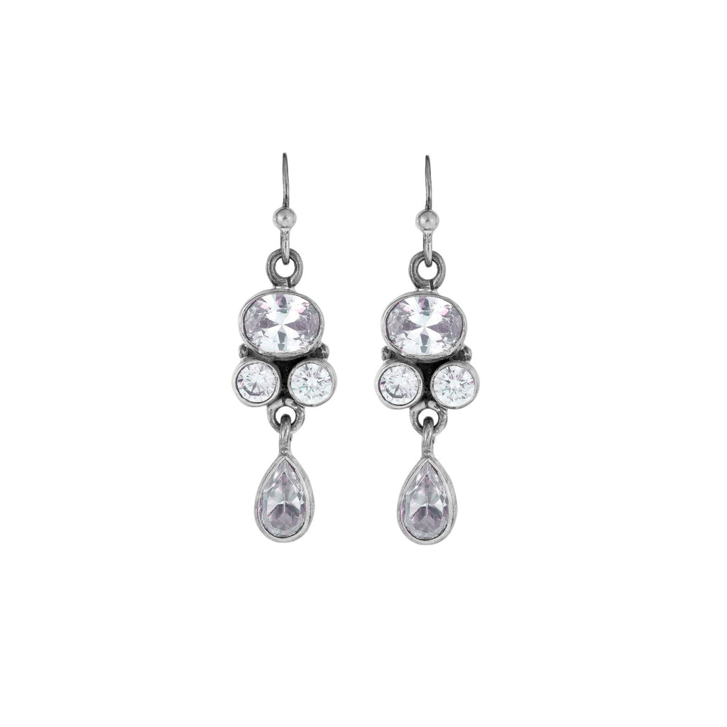 Silver And Zircon Earrings