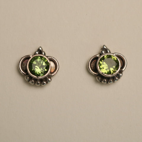 Silver & Green Chrysoprase Stud Earrings
