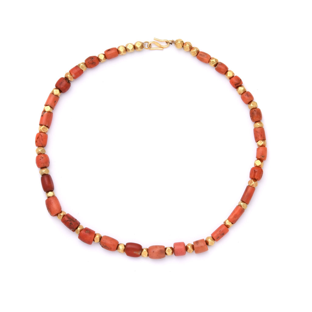 Tibetan Antique Coral & Gold Bead Necklace