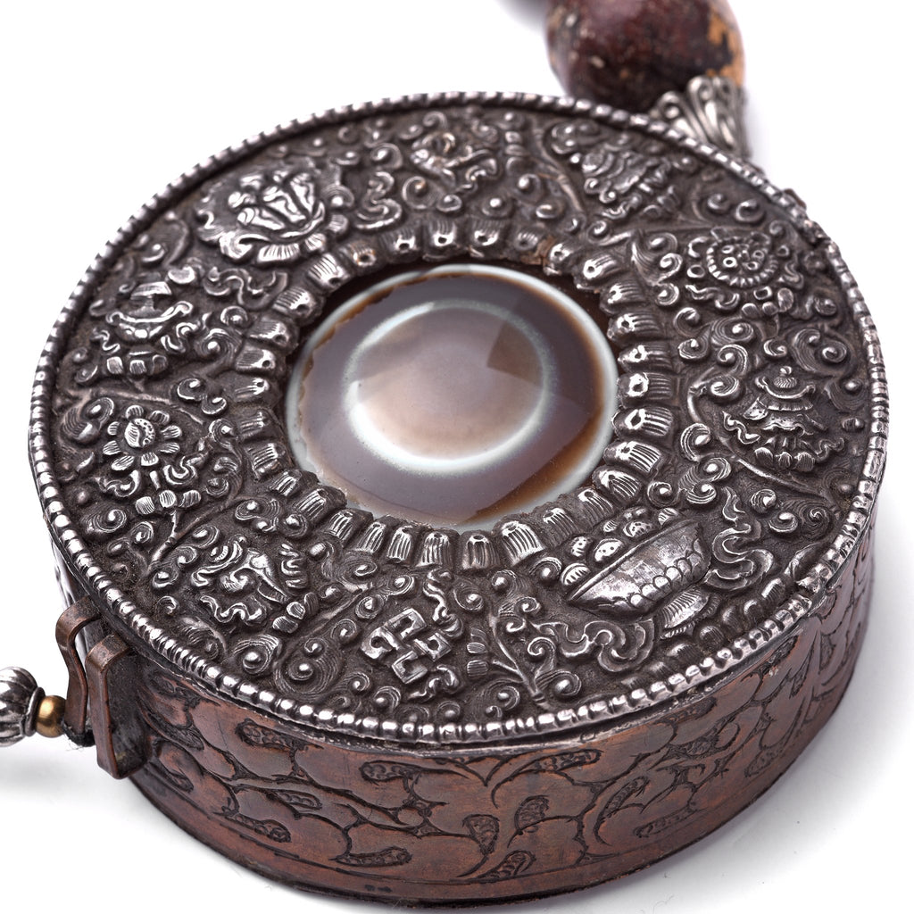 Tibetan Gau Prayer Box - Silver and Copper Repousse - Ca 85 yrs old
