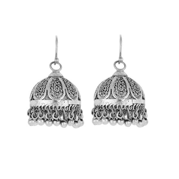 Tribal Silver Bell Earrings From Rajasthan