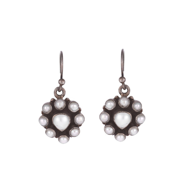Tribal Silver Earrings With Seed Pearls