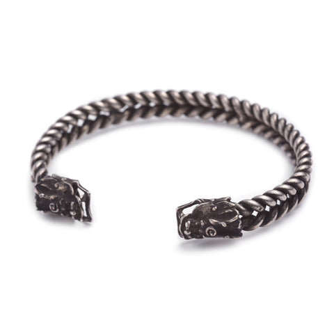 White Metal Miao Tribal Bangle - Dragon Design