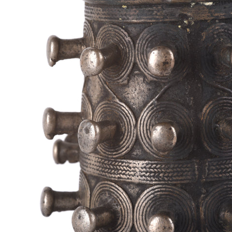 White Metal Tribal Bangle From Nagaland - 19thC