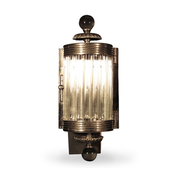 Art Deco Style Wall Lamp - Glass And Chrome