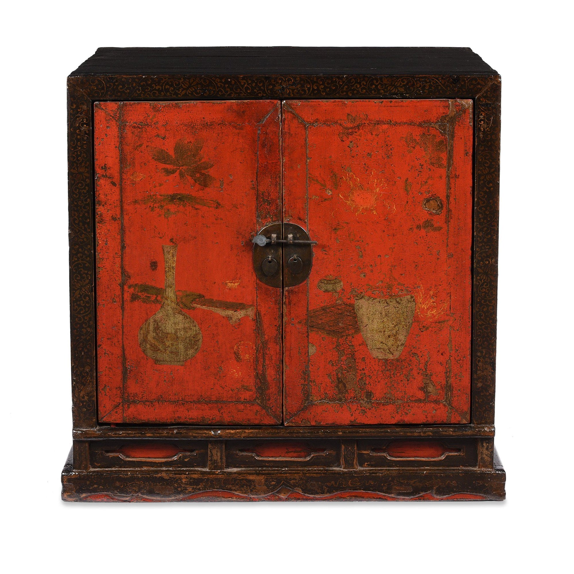 Black & Red Lacquer Book Cabinet from China - 19th Century | Indigo Oriental Antiques