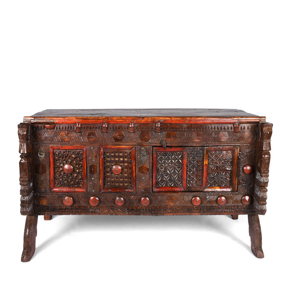 Carved Lacquered Teak Dowry Chest  - Manjus From Kutch