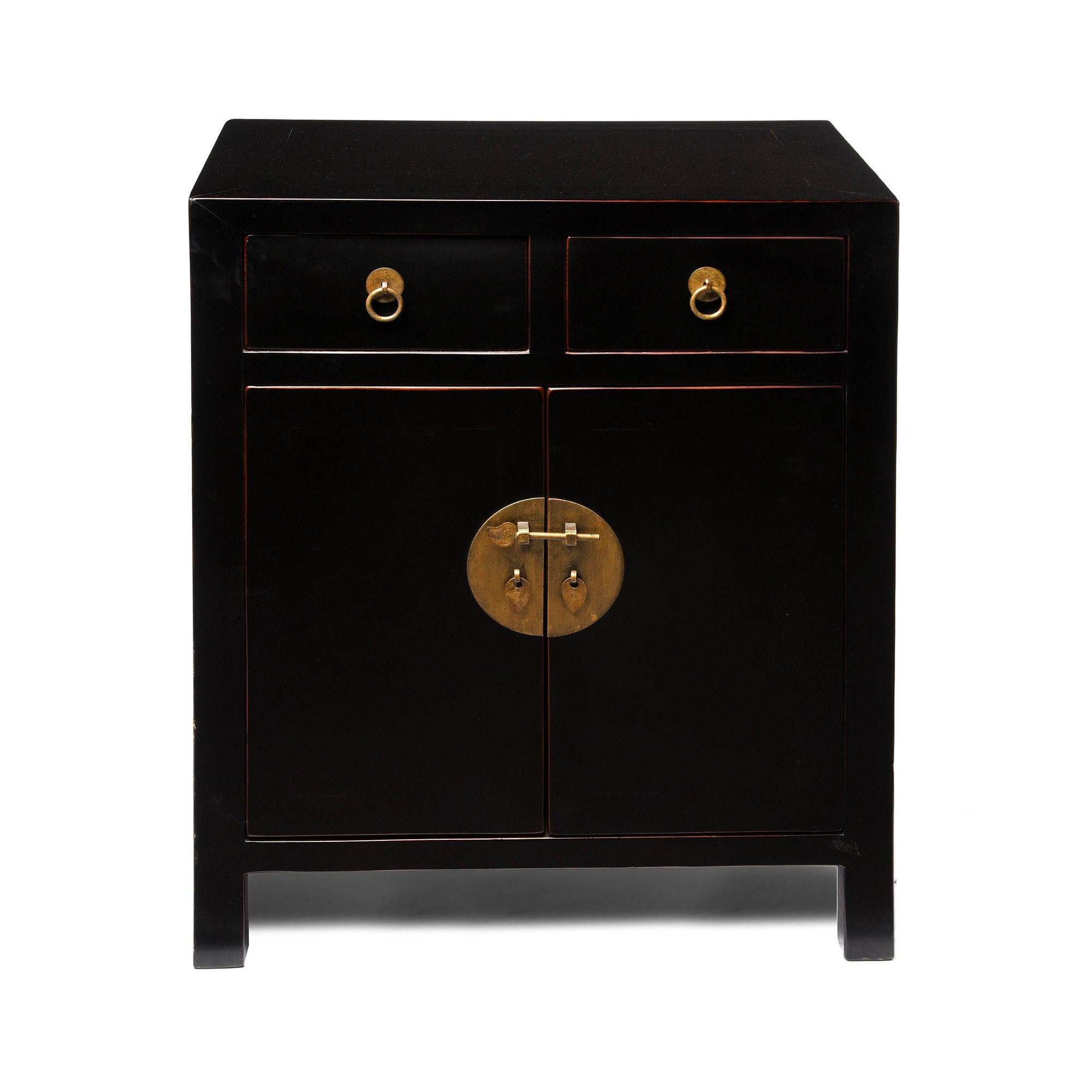 Chinese 2 Door Black Lacquer Cabinet | Indigo Antiques