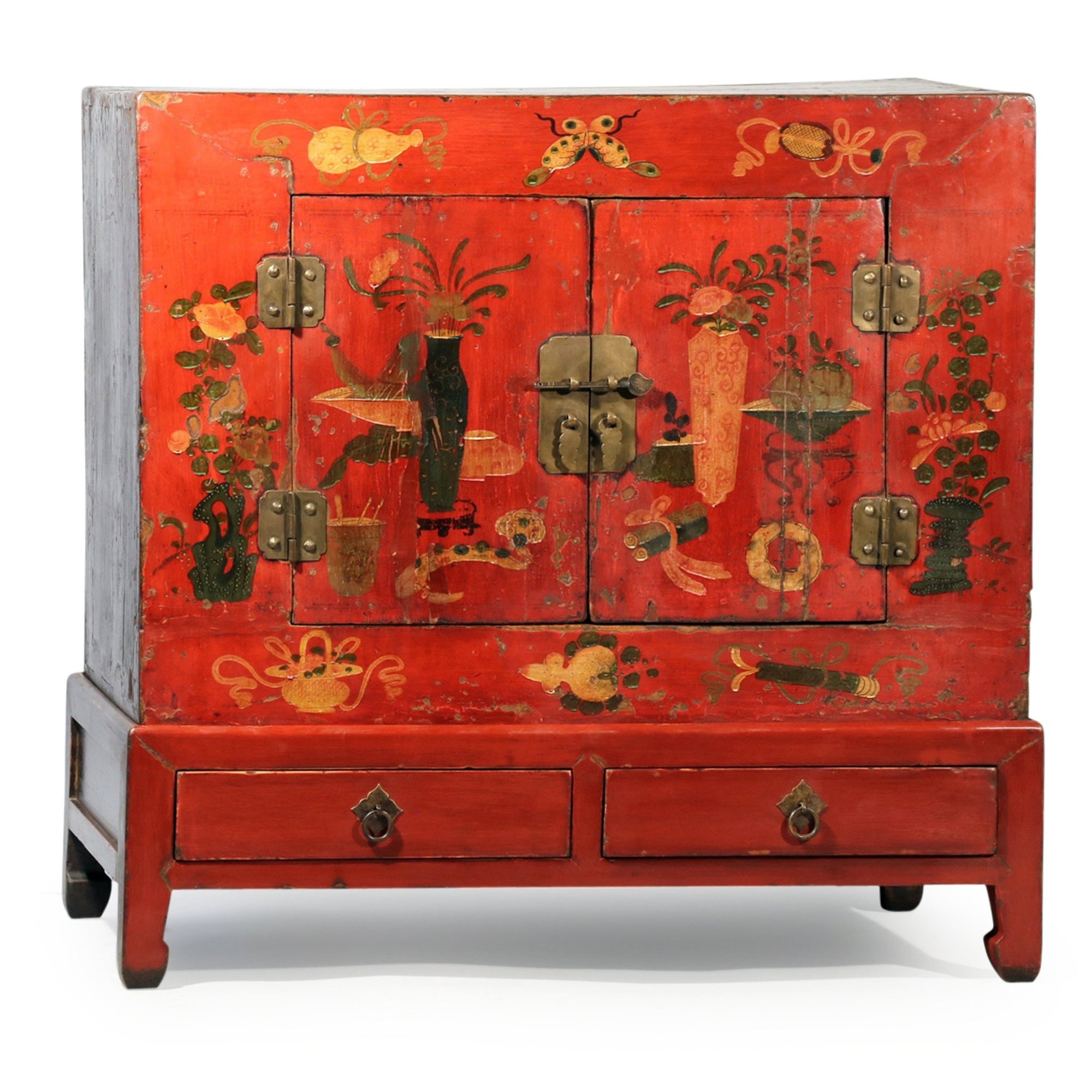 Painted Cabinet On Stand From Gansu - Ca 90 yrs old | Indigo Oriental Antiques
