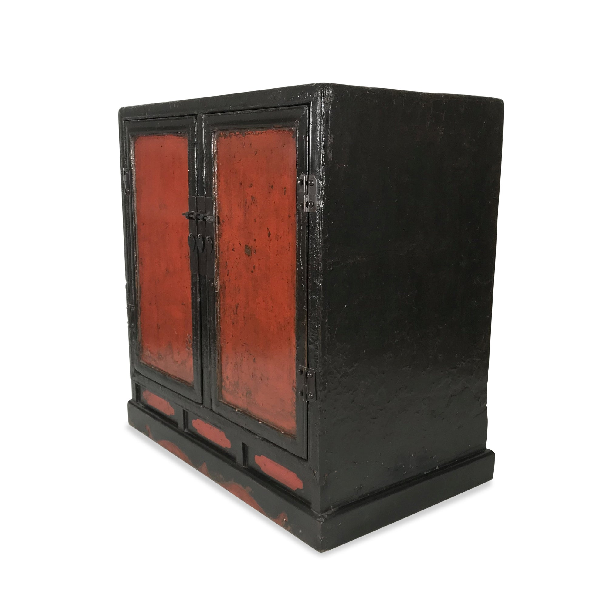 Red & Black Lacquer Book Cabinet from China - 19thC | Indigo Oriental Antiques