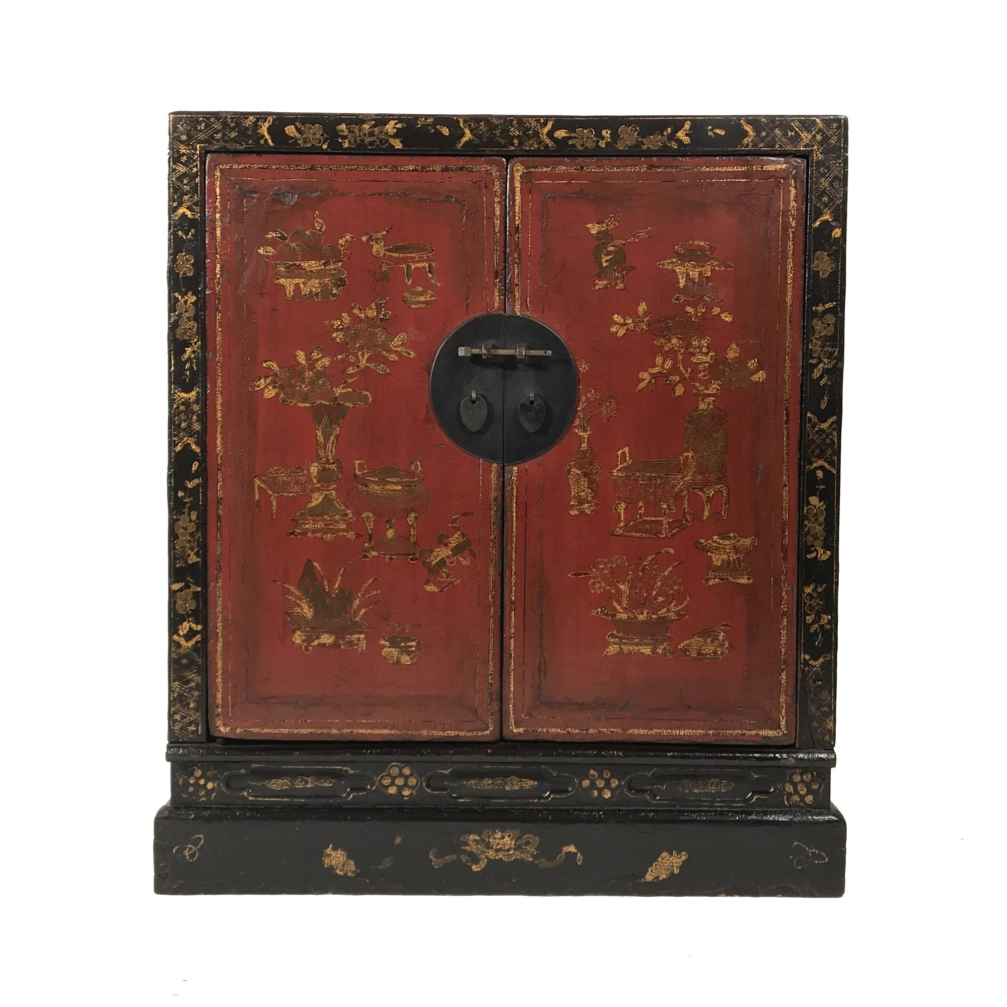 Red & Black Lacquer Painted Book Cabinet from China - 19thC | Indigo Oriental Antiques