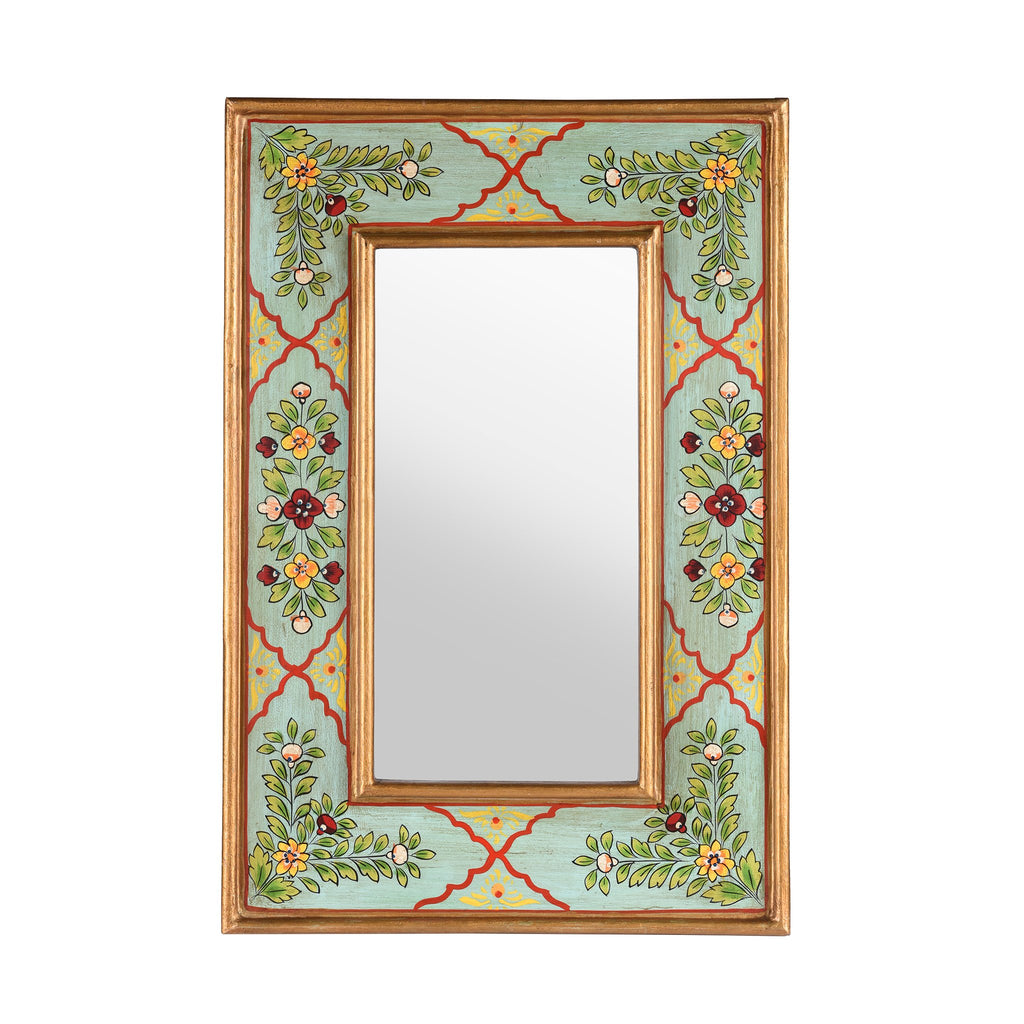 Aqua Hand Painted Indian Mirror