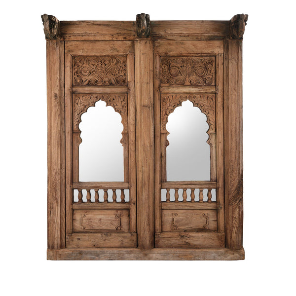 Carved Double Mirror Made From An Old Teak Window - 19thC