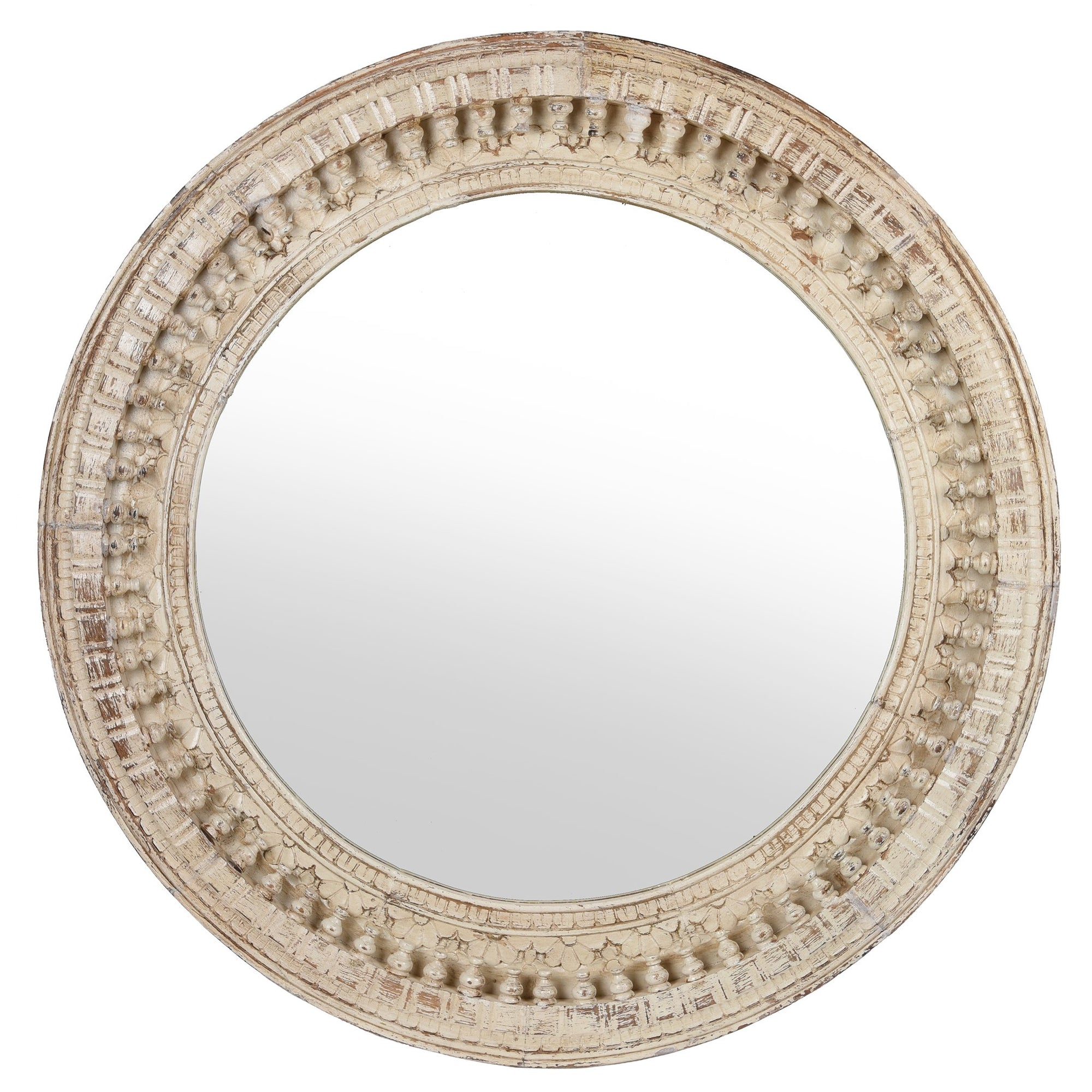 White Painted Carved Indian Mango Wood Round Mirror 90cms Diameter | Indigo Antiques
