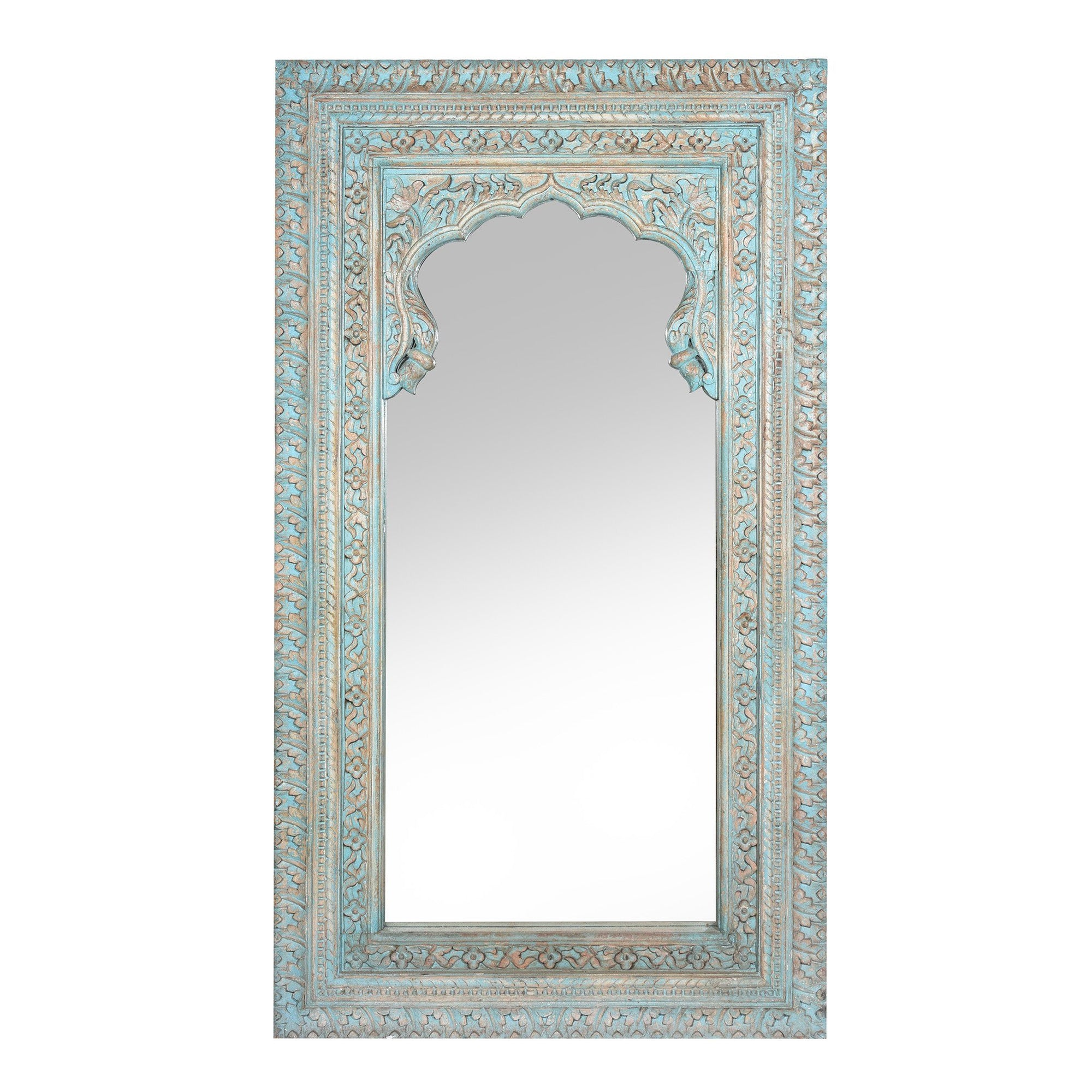 Carved Wood Mihrab Mirror Frame -  Blue Limed Finish | Indigo Oriental Antiques