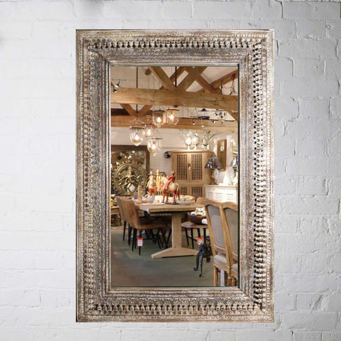 Carved Mango Wood Large Painted Mirror