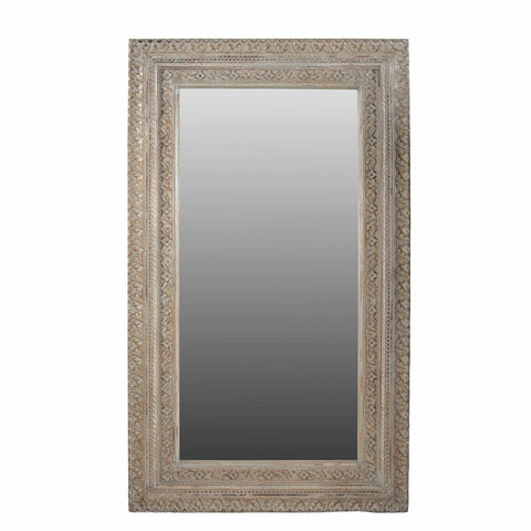 Carved Mango Wood Mirror with Lime Washed Finish