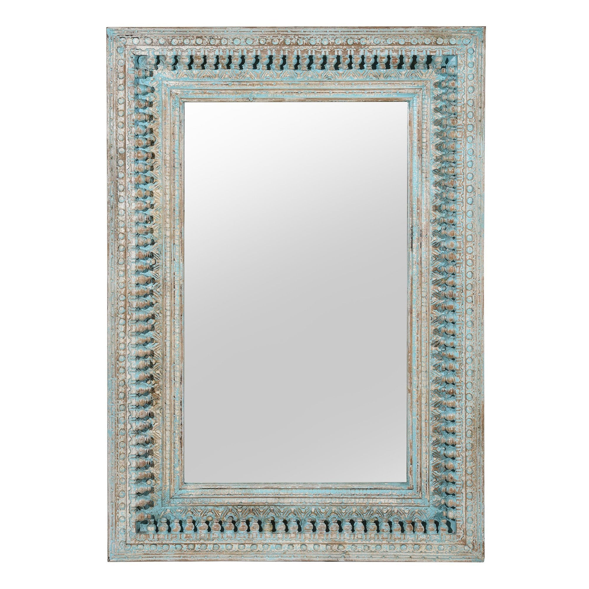 Carved Mango Wood Painted Mirror - Antique Blue | Indigo Antiques