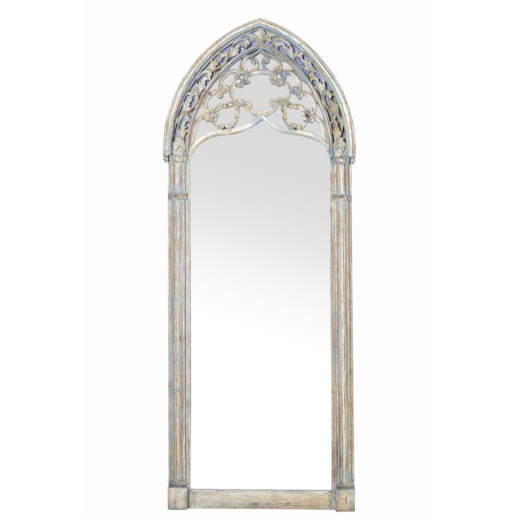 Gothic Style Full Length Floor Standing Mirror - Vintage Indian Blue | Indigo Oriental Antiques