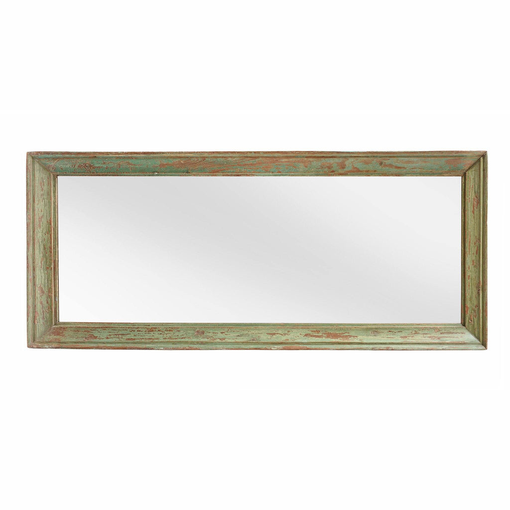 Green Painted Mirror Made From An Old Teak Window - 19thC
