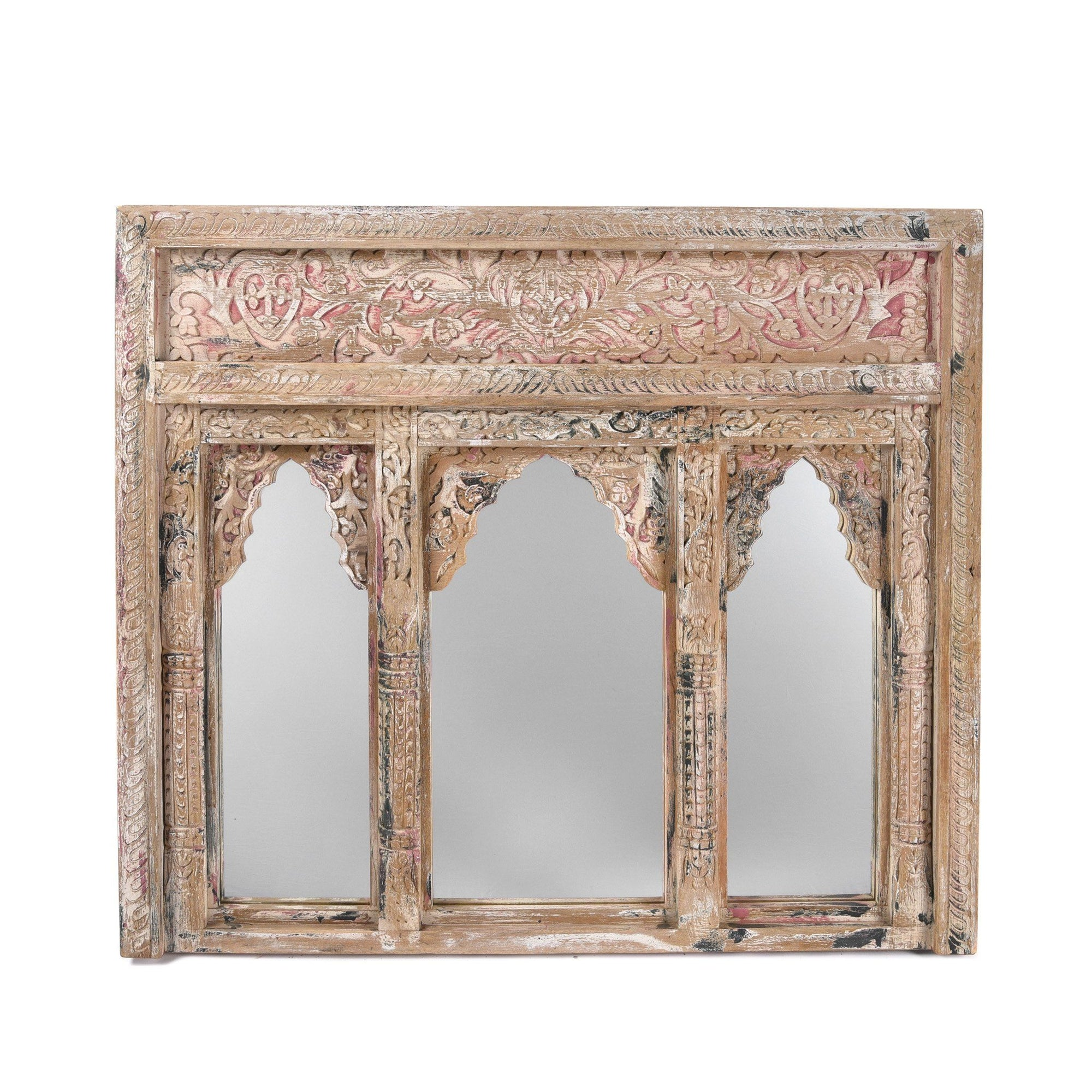 Indian Mango Wood Triple Mirror - Rajasthani Style