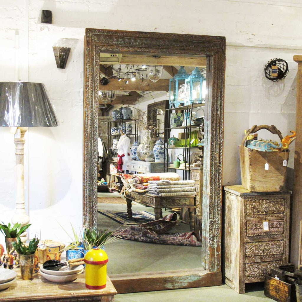 Large Indian Mirror From An Old Teak Doorway