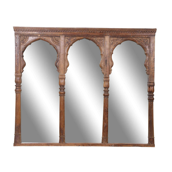 Large Indian Triple Mughal Arch Window Mirror - 19thC
