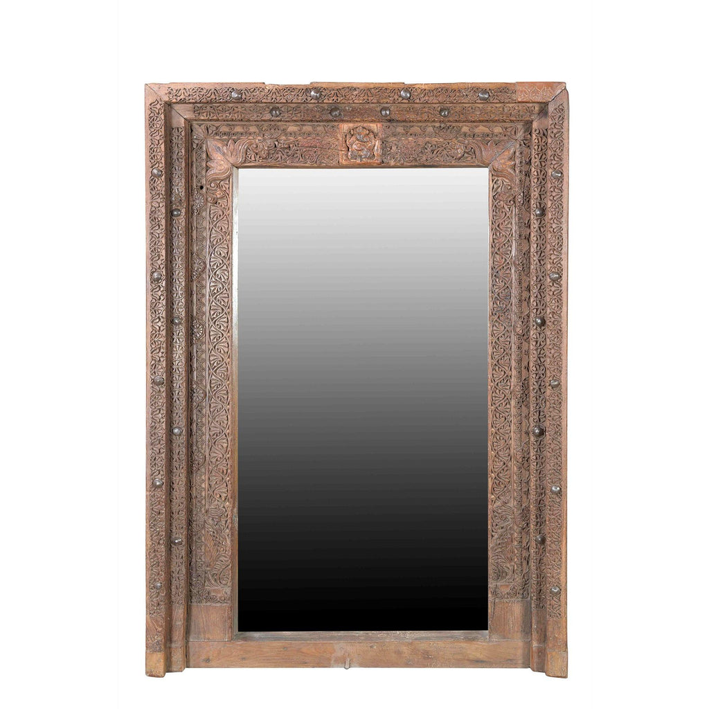 Mirror Made From 19thC Carved Teak Window