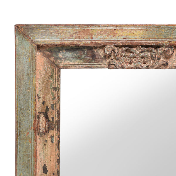 Mirror Made From An Old Painted Teak Window - 18thC
