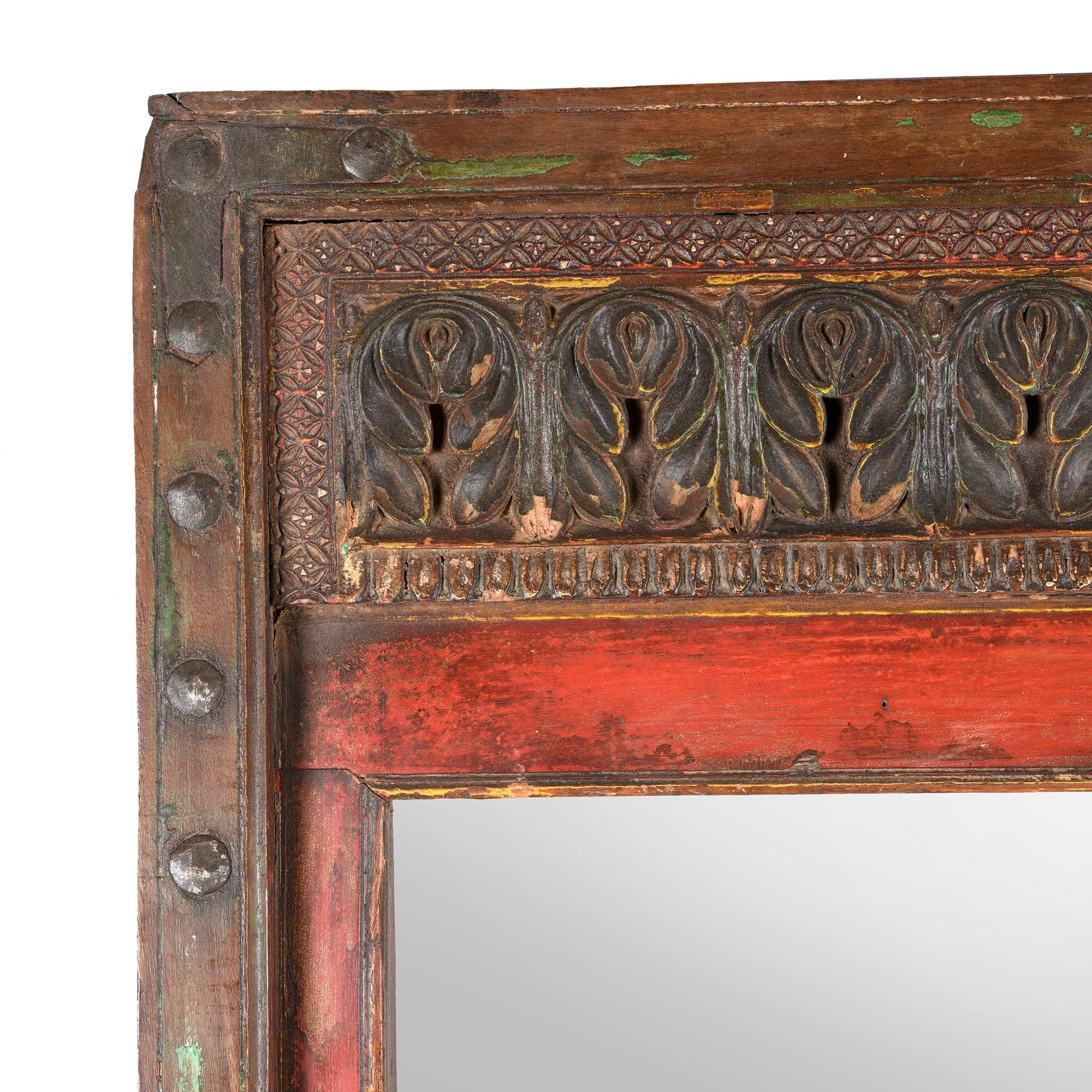 Painted Indian Mirror From Bikaner - 19thC