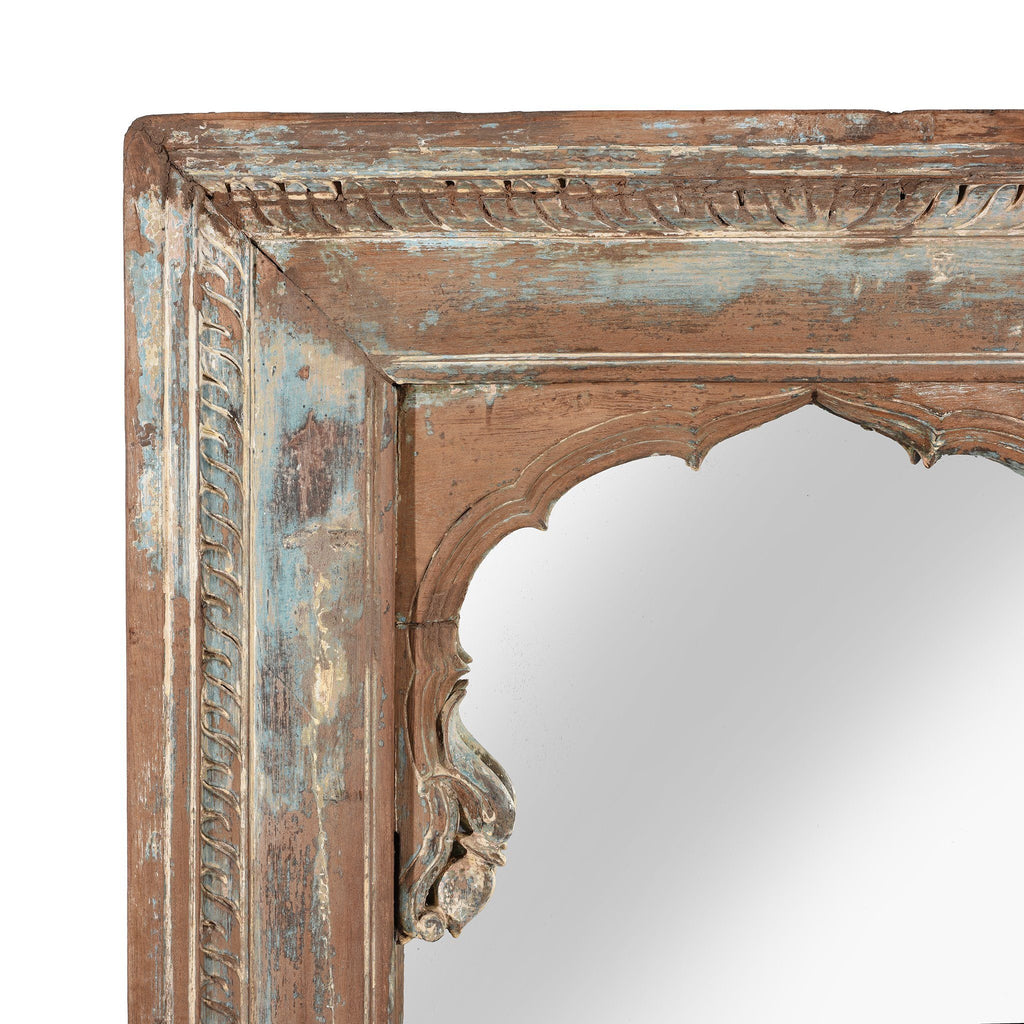 Painted Mirror Made From A 19thC Indian Window - 19thC