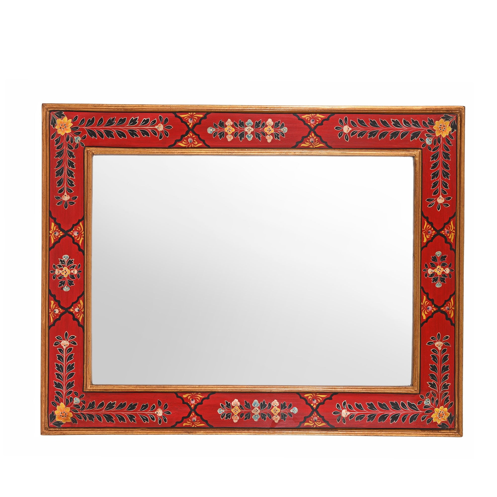 Hand Painted Indian Mirror | Indigo Oriental Antiques