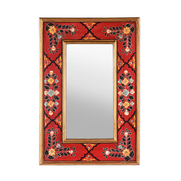 Red Hand Painted Indian Mirror