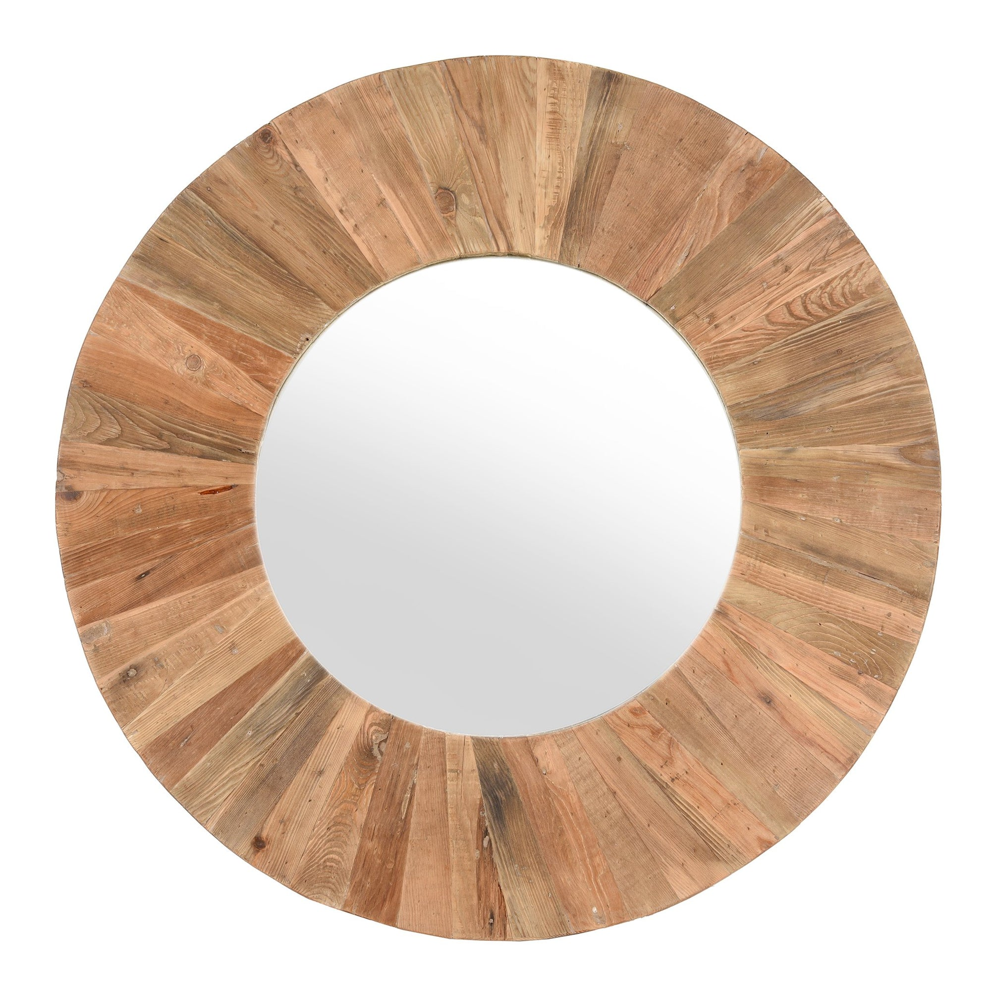 Round Mirror Made From Reclaimed Elm  Indigo Antiques