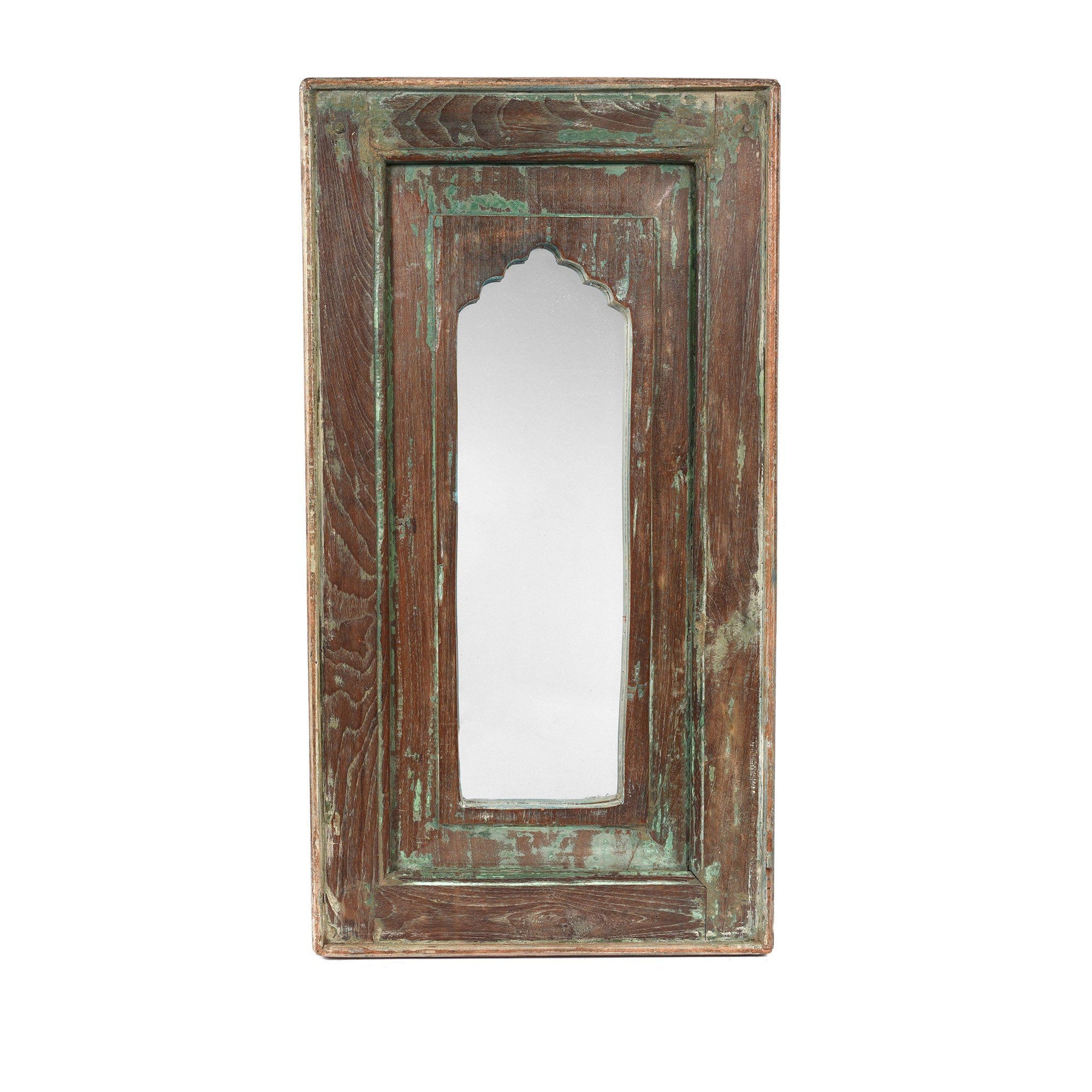 Small Vintage Green Indian Mihrab Mirror Made From Old Teak Wood | Indigo Antiques