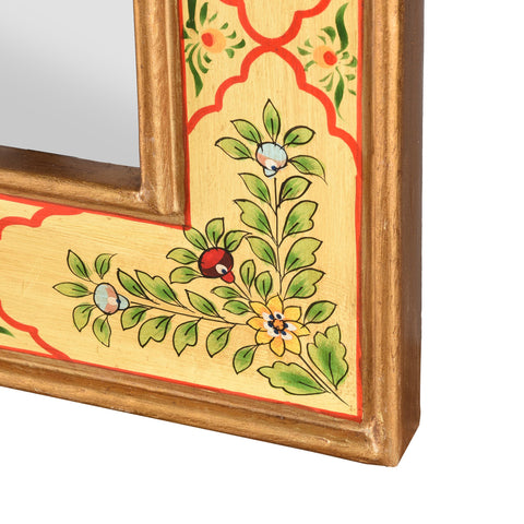 Yellow Hand Painted Indian Mirror