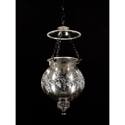 Engraved Glass Globe Hundi Lamp With Fitting - Late 19thC