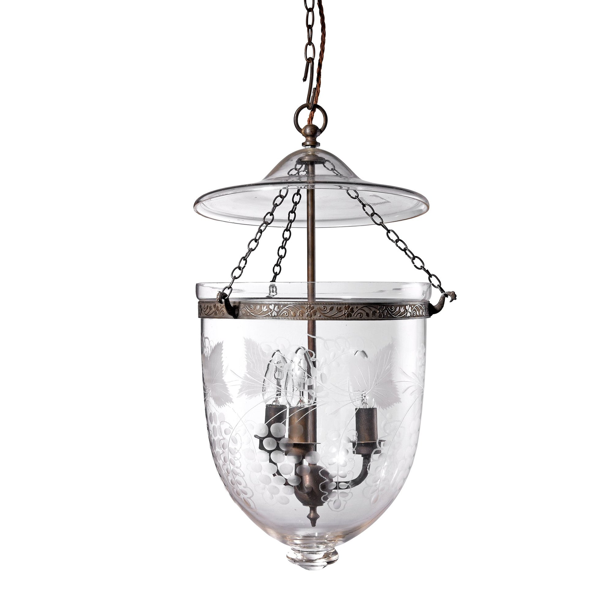 Engraved Glass Hundi Lamp With 3 Way Fitting - Grapes