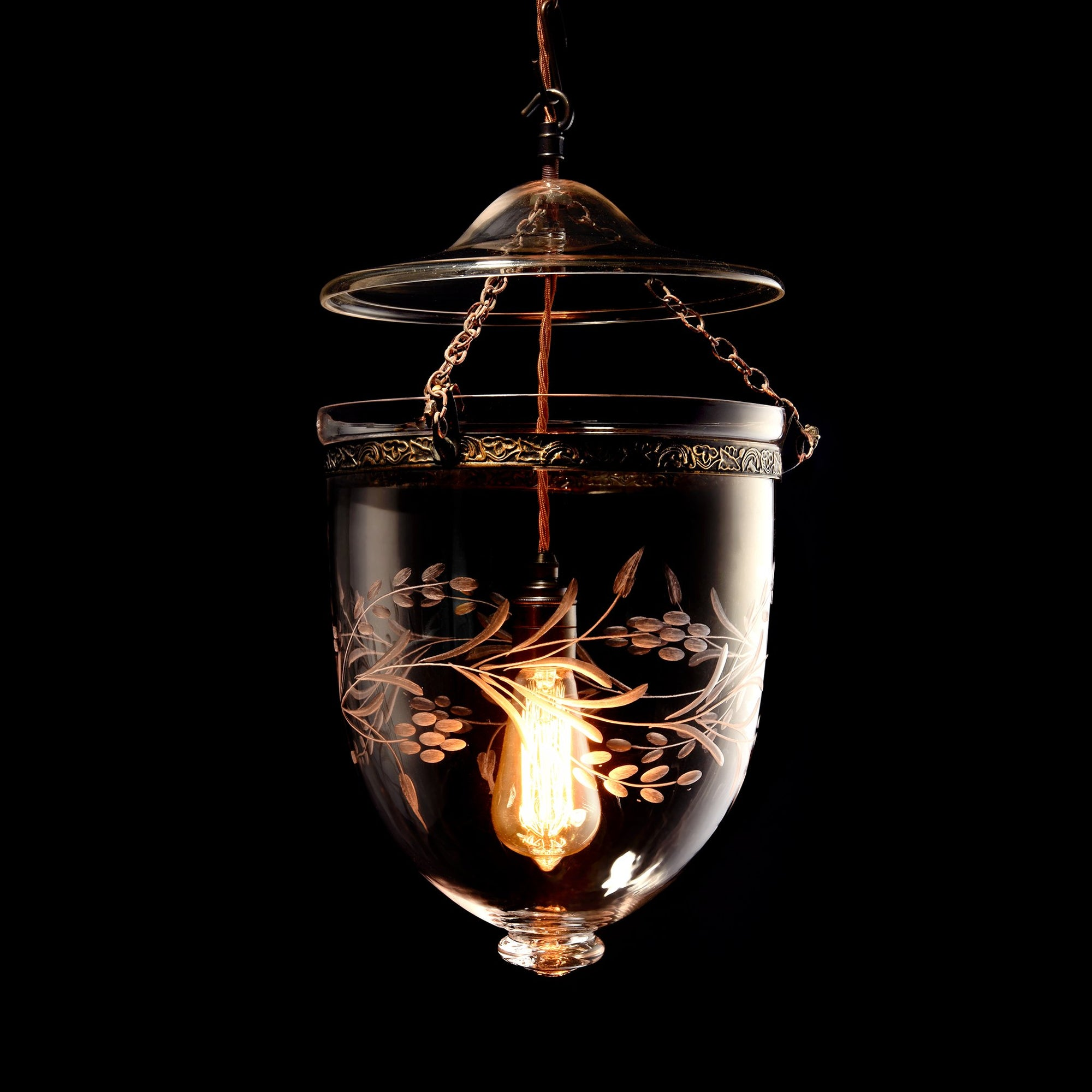 Engraved Glass Hundi Pendant Lamp With Single Fitting - Leaves
