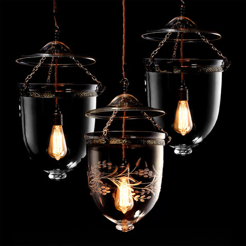 Glass Hundi Pendant Lamp With Single Fitting