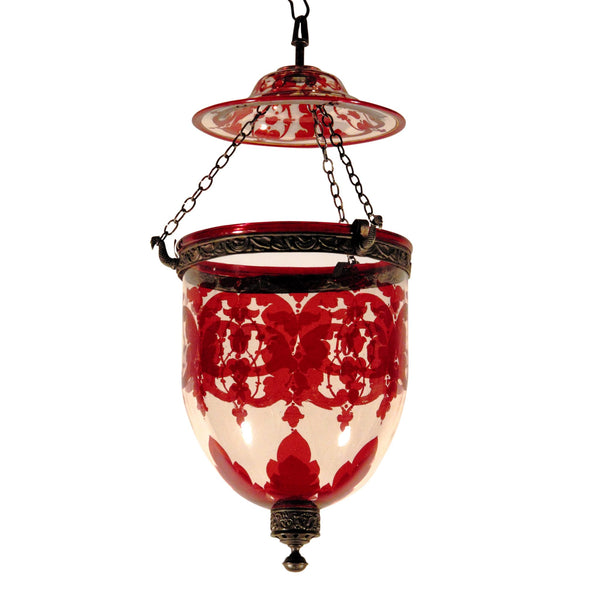 Rare Cranberry Glass Hundi Lamp From an Indian Palace - 19thC