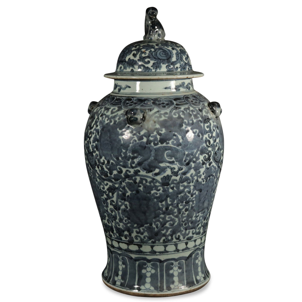 Blue And White Temple Jar - Chinese Peony Design
