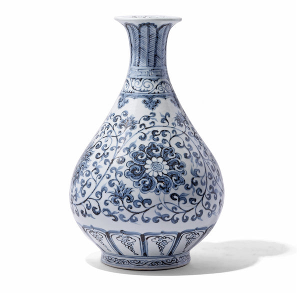 Blue & White Floral Porcelain Pear Shaped Vase