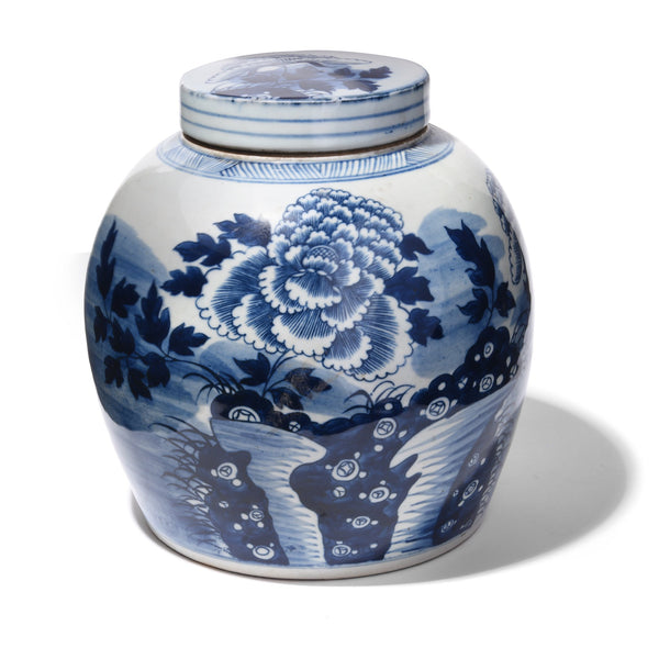Blue & White Porcelain Ginger Jar - Chrysanthemum Design