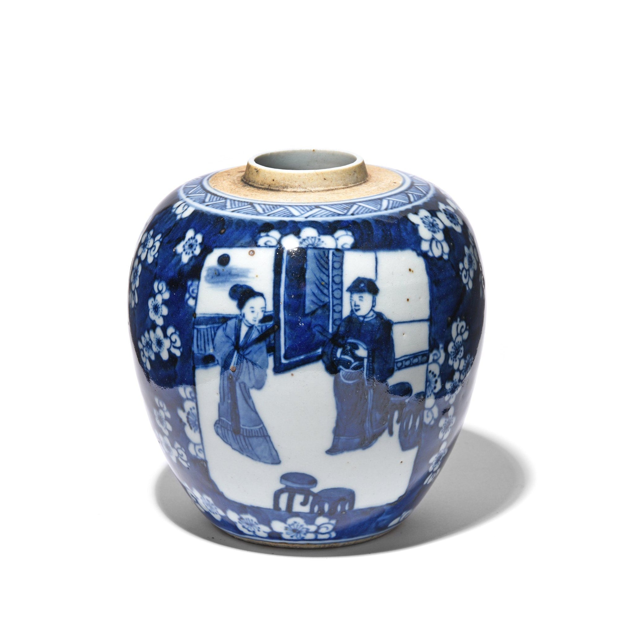 blue-&-white-porcelain-ginger-jar-couple-in-cherry-blossom | Indigo Antiques